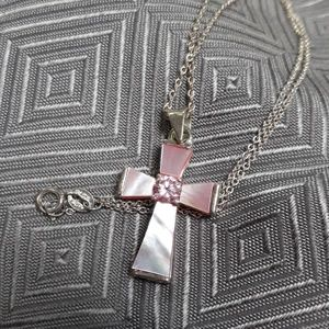 Jewelry - Sterling and pink shell Cross Necklace